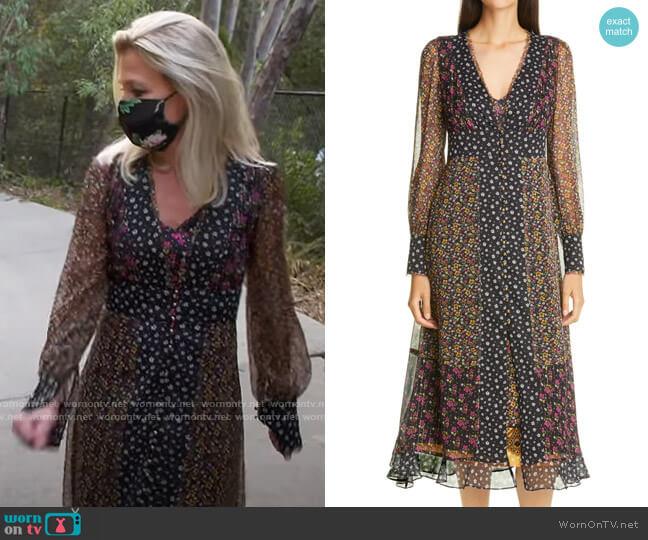Le Superbe Magnolia Lane Metallic Thread Floral Mix Print Long Sleeve Chiffon Dress