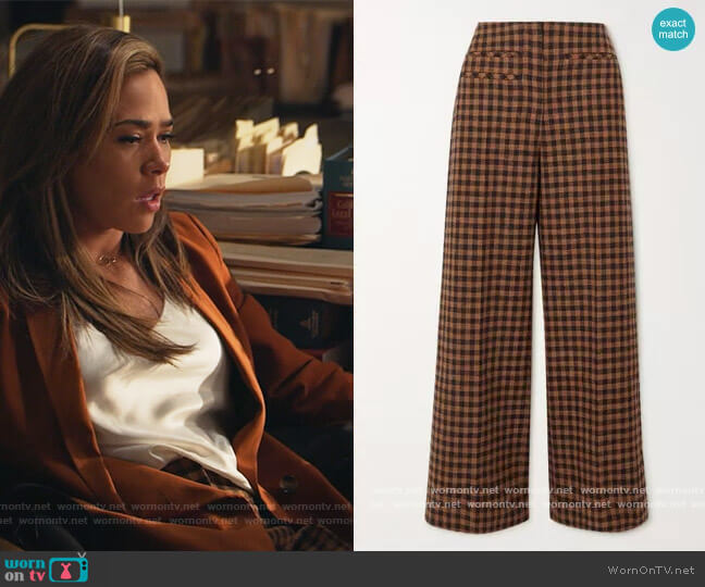 Lexi checked wool and cotton-blend wide-leg pants by Rejina Pyo worn by Emily Lopez (Jessica Camacho) on All Rise