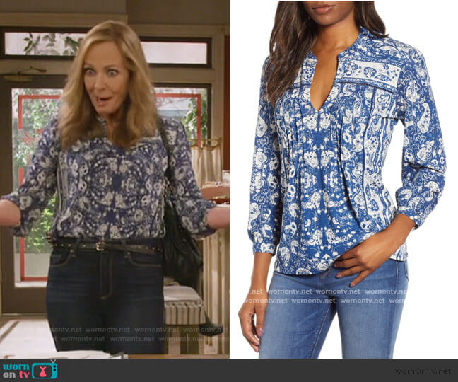 Paisley Print Peasant Blouse by Lucky Brand worn by Bonnie Plunkett (Allison Janney) on Mom