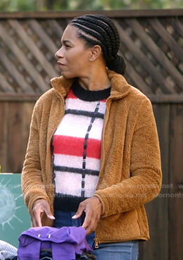 Maggie's pink, red and black striped sweater on Greys Anatomy