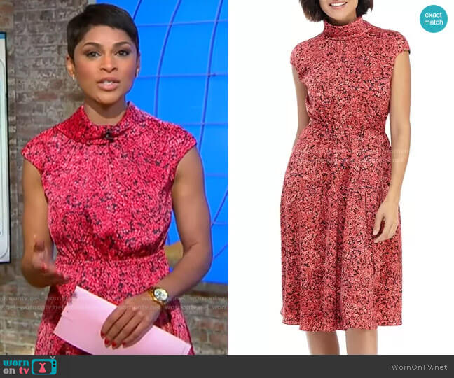 Maggy London Floral Roll Neck A-Line Dress worn by Jericka Duncan  on CBS This Morning