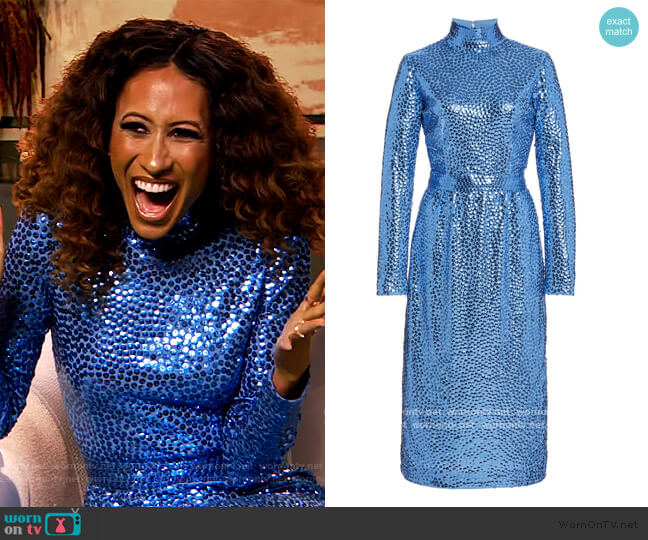 Sequined Jersey Turtleneck Dress by Marc Jacobs worn by Elaine Welteroth on The Drew Barrymore Show