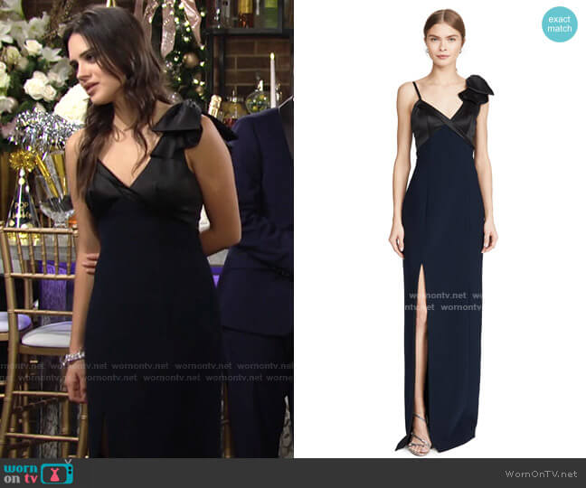 Sleeveless Stretch Satin Gown by Marchesa Notte worn by Lola Rosales (Sasha Calle) on The Young & the Restless