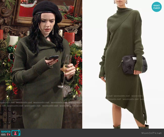 Asymmetric Ribbed Wool Dress by Marques' Almeida worn by Tessa Porter (Cait Fairbanks) on The Young & the Restless