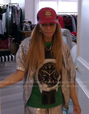 Mary's green watch print tee and red Gucci cap on The Real Housewives of Salt Lake City