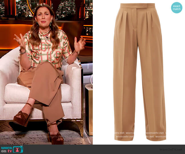 Bonn trousers by Max Mara worn by Drew Barrymore  on The Drew Barrymore Show