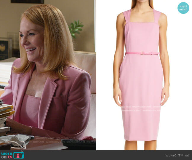 Dress: Cabala Belted Wool Sheath Dress by Max Mara worn by Lisa Benner (Marg Helgenberger) on All Rise