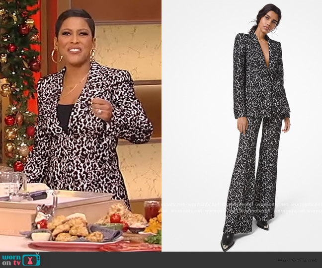 Lace and crepe blazer and pants by Michael Kors worn by Tamron Hall  on Tamron Hall Show