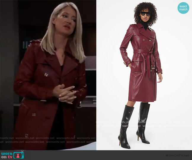 Leather Trench Coat by Michael Kors worn by Nina Reeves (Cynthia Watros) on General Hospital