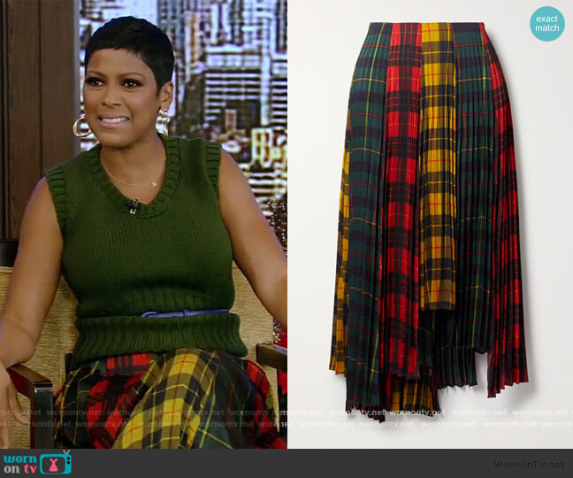 Asymmetric pleated checked twill skirt by Monse worn by Tamron Hall on Live with Kelly and Ryan