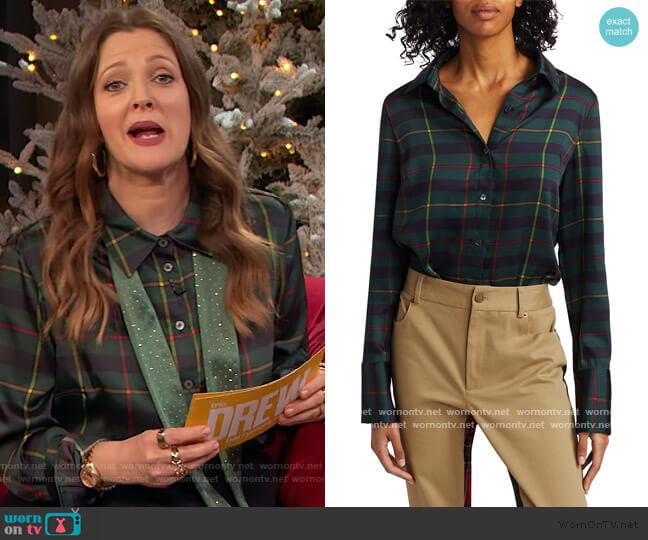 Harris Tartan Cowl Back Shirt by Monse worn by Drew Barrymore  on The Drew Barrymore Show