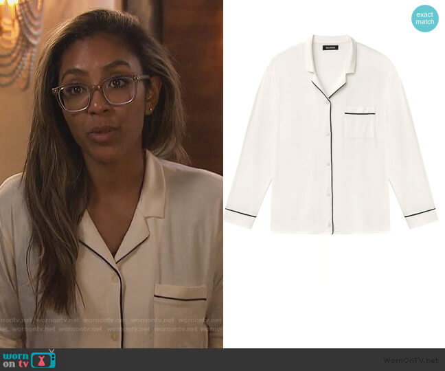 Long Sleeve Tee-Pajama Pant Set by Naadam worn by Tayshia Adams  on The Bachelorette