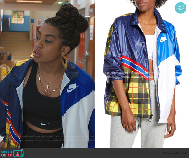Sportswear NSW Woven Plaid Jacket by Nike worn by Aisha (Alycia Pascual-Pena) on Saved By The Bell