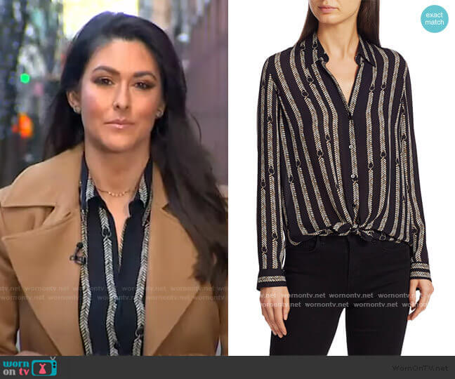 Nina Aguillette Printed Silk Blouse by L'Agence worn by Erielle Reshef