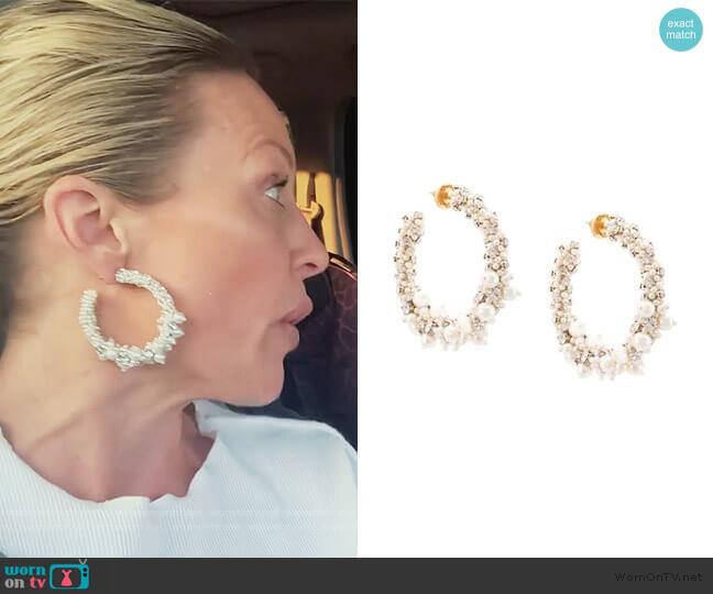 beaded pearl hoop earrings by Oscar De La Renta worn by Braunwyn Windham-Burke  on The Real Housewives of Orange County