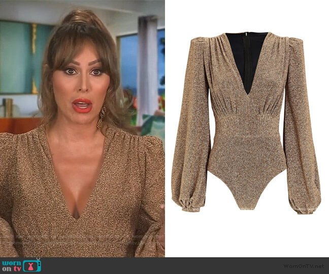 Lurex V-Neck Bodysuit by Patbo worn by Kelly Dodd  on The Real Housewives of Orange County
