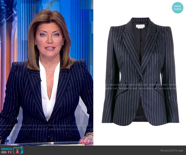 Pinstripe Wool Blazer by Alexander Mcqueen worn by Norah O'Donnell  on CBS Evening News