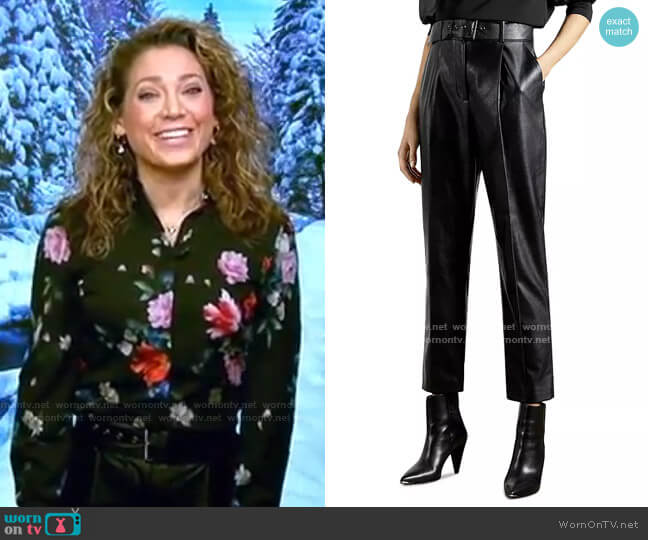 Pleather Belted Trousers by Ted Baker worn by Ginger Zee  on Good Morning America