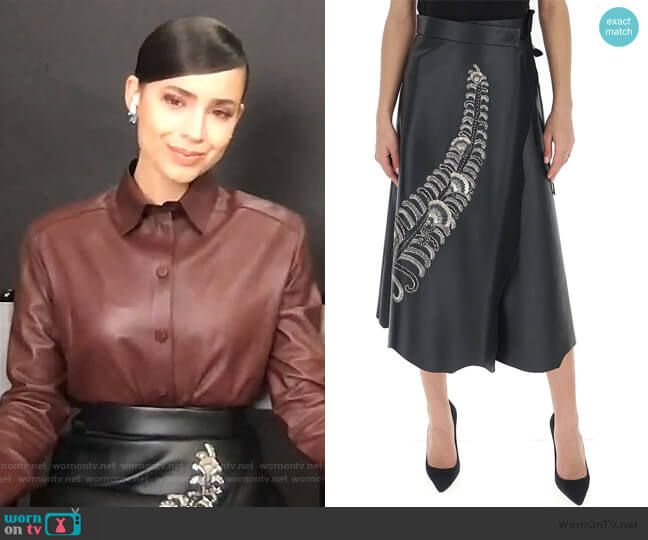 Prada Embellished Wrap Midi Skirt by Prada worn by Sofia Carson on Live with Kelly and Ryan