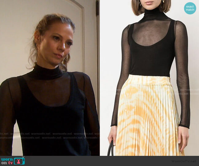 Layered Gauge Knit Turtleneck Top by Proenza Schouler White Label worn by Ava Vitali (Tamara Braun ) on Days of our Lives