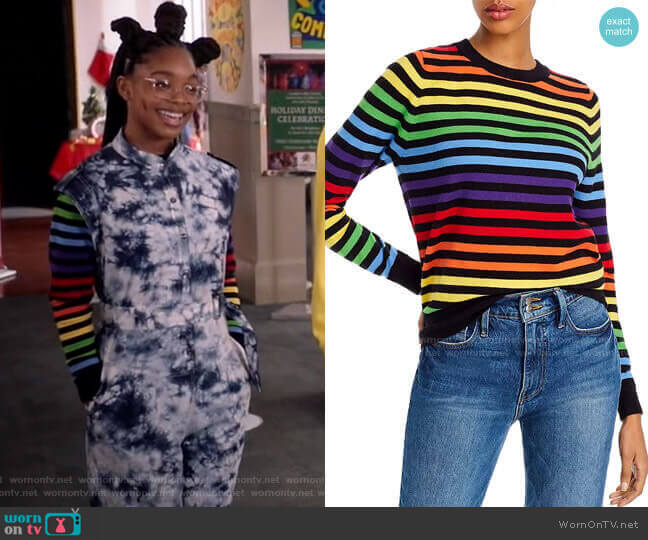 Rainbow-Stripe Sweater by Madeleine Thompson x AQUA worn by Diane Johnson (Marsai Martin) on Blackish