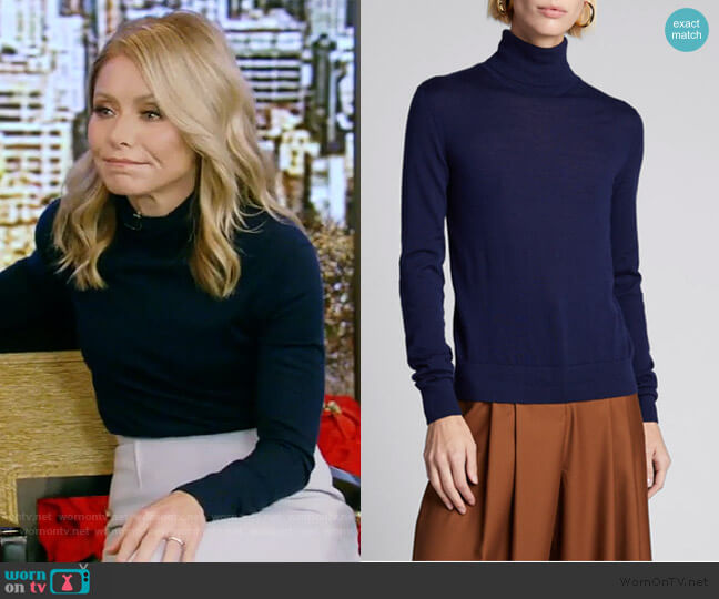 Cashmere Turtleneck Sweater by Ralph Lauren worn by Kelly Ripa  on Live with Kelly & Ryan