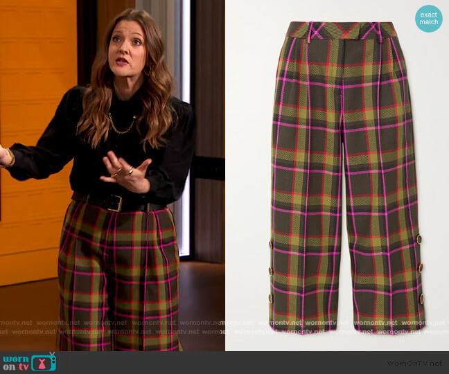 Cropped checked wool-drill wide-leg pants by Ralph & Russo worn by Drew Barrymore  on The Drew Barrymore Show