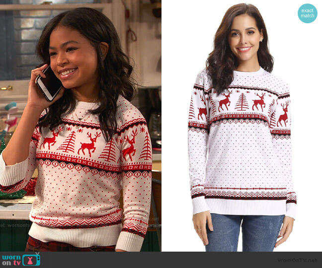 Reindeer Snowflakes Sweater by Abollria worn by Nia Baxter (Navia Robinson) on Ravens Home