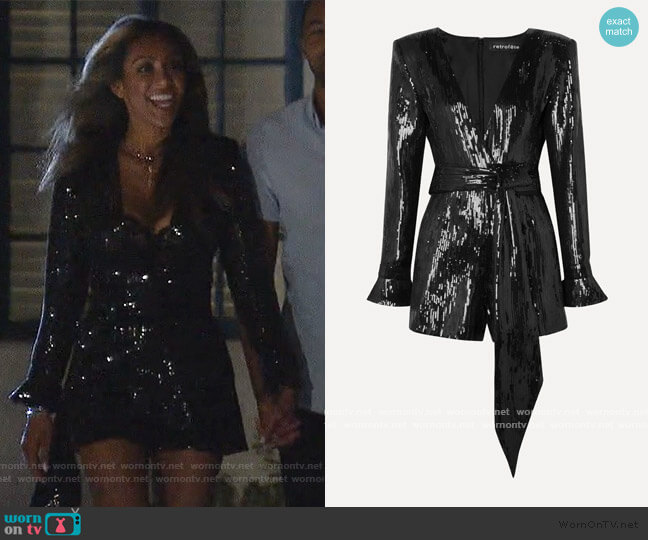 Katherine sequined chiffon playsuit by Retrofete worn by Tayshia Adams  on The Bachelorette