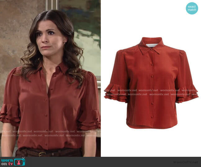Ruffled Sleeve Silk Top by Frame worn by Chelsea Lawson (Melissa Claire Egan) on The Young & the Restless