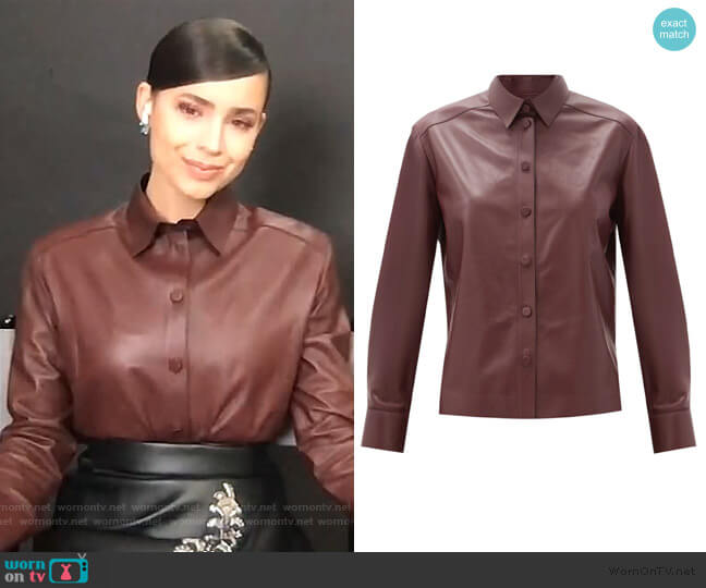 Point-collar leather shirt by Salvatore Ferragamo worn by Sofia Carson on Live with Kelly and Ryan
