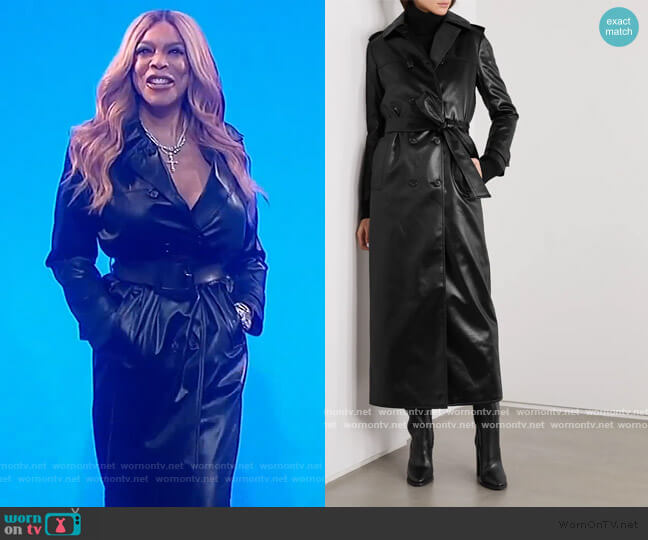 Belted faux leather trench coat by Saint Laurent worn by Wendy Williams  on The Wendy Williams Show