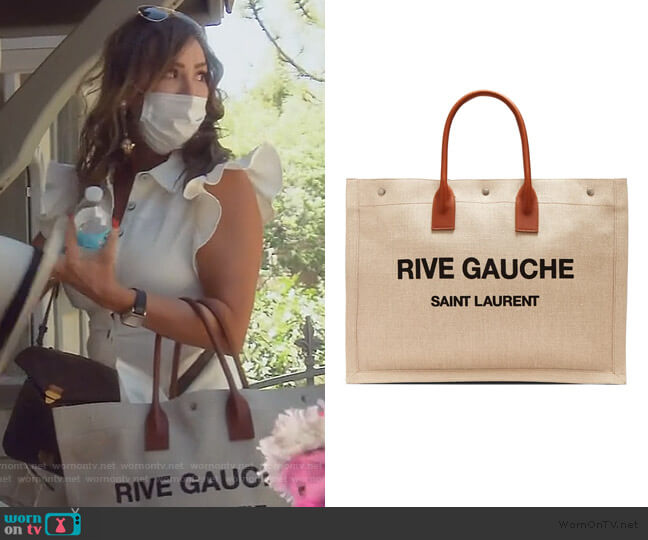 Canvas Tote by Saint Laurent worn by Kelly Dodd  on The Real Housewives of Orange County