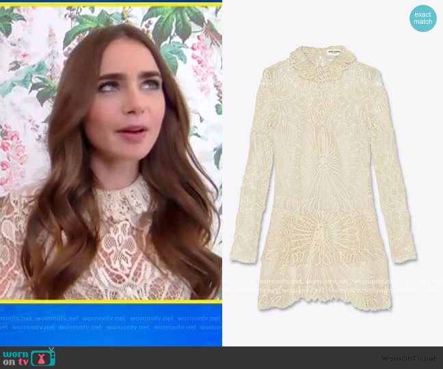 Chrocheted Lace Dress by Saint Laurent worn by Lilly Collins on E! News Daily Pop