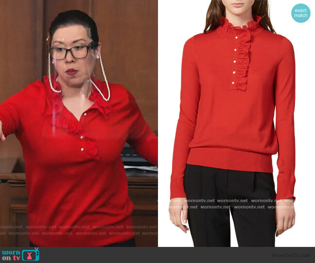 Amor Lace Trim Mock Neck Sweater by Sandro worn by Sherri Kansky (Ruthie Ann Miles) on All Rise