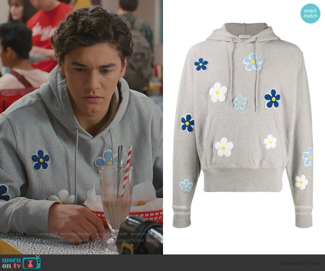daisy-patch hoodie by Sandro worn by Jamie Spano (Belmont Cameli) on Saved By The Bell