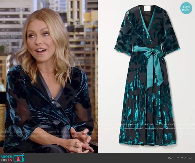 Satin-trimmed devoré-velvet wrap midi dress by Galvan worn by Kelly Ripa  on Live with Kelly & Ryan