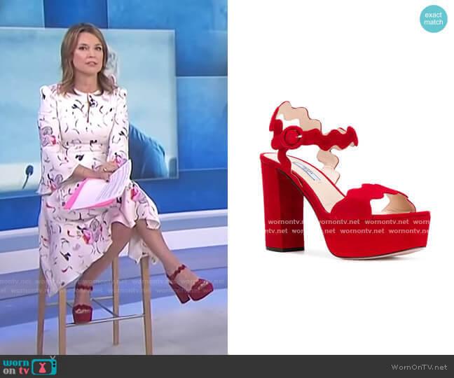 Scalloped Platform Sandals by Prada worn by Savannah Guthrie  on Today