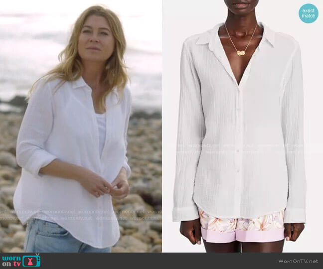 Scout Button Down Shirt by Xirena worn by Meredith Grey (Ellen Pompeo) on Greys Anatomy