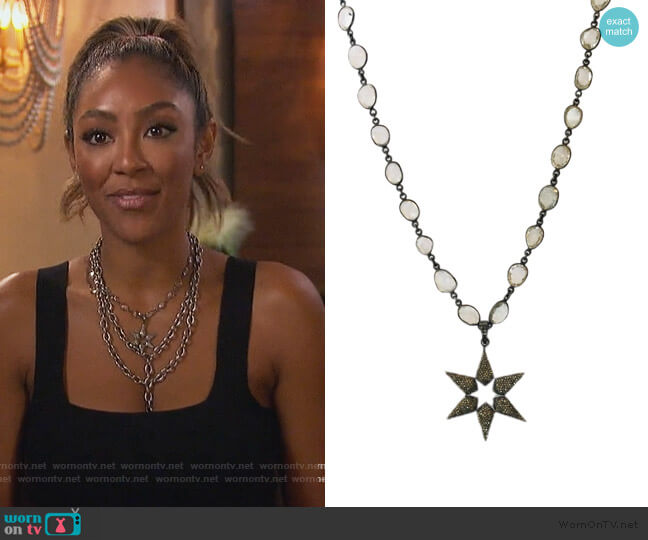 Pave Diamond Star Necklace by Shalla Wista worn by Tayshia Adams  on The Bachelorette