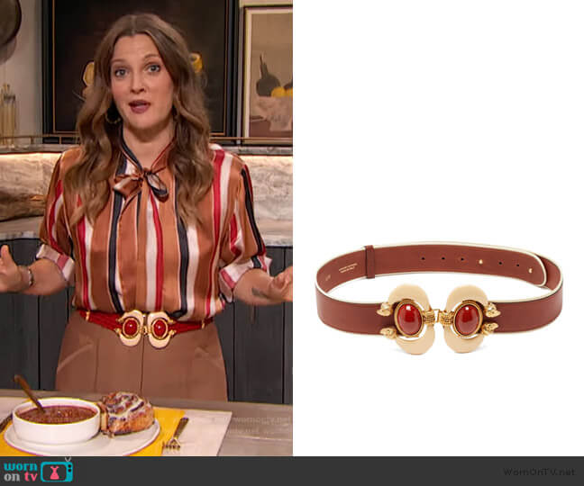 Aries cabochon-embellished leather belt by Sonia Petroff worn by Drew Barrymore  on The Drew Barrymore Show