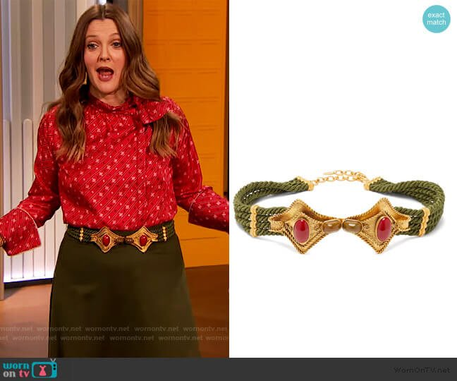 Manta cabochon-embellished cord belt by Sonia Petroff worn by Drew Barrymore  on The Drew Barrymore Show