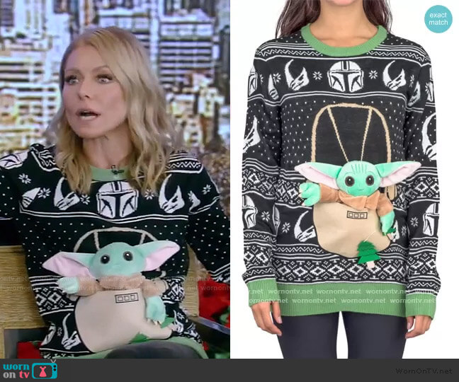 Star Wars Baby Yoda The Child Forces Trees Ugly Christmas Sweater worn by Kelly Ripa  on Live with Kelly & Ryan