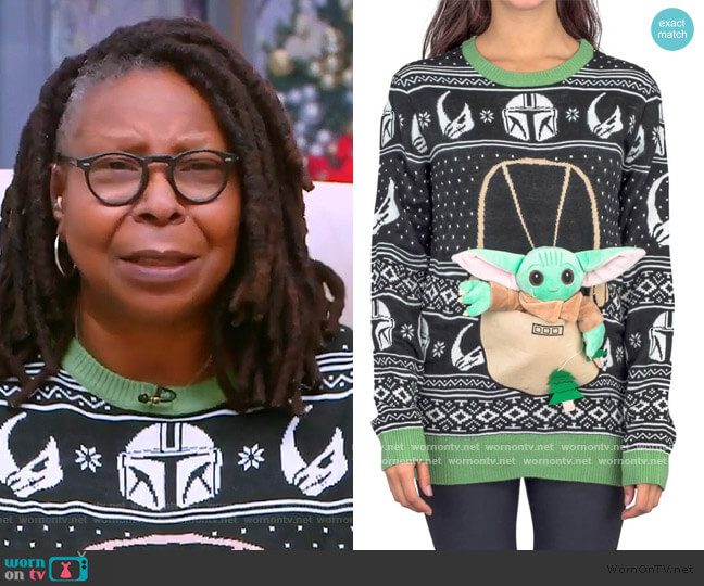 Star Wars Baby Yoda The Child Forces Trees Ugly Christmas Sweater by Ugly Christmas Sweater worn by Whoopi Goldberg  on The View
