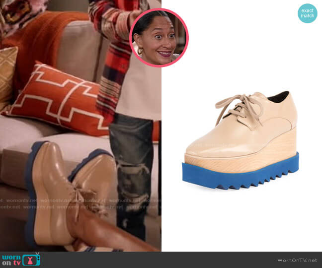Elyse Platform Shoes in Blue/Nude by Stella McCartney worn by Rainbow Johnson (Tracee Ellis Ross) on Blackish