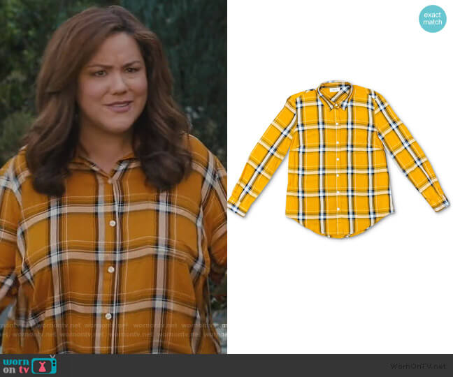 Plaid Button-Front Top by Style & Co worn by Katie Otto (Katy Mixon) on American Housewife
