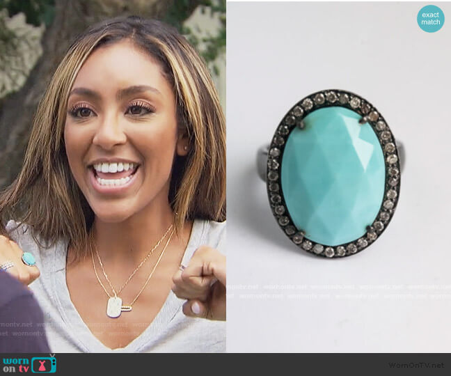 Turquoise and Diamond Black Rhodium Ring by Robyn Rhodes worn by Tayshia Adams  on The Bachelorette