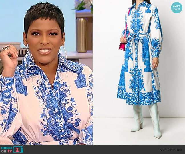 floral-print shirt dress by Valentino worn by Tamron Hall  on Tamron Hall Show