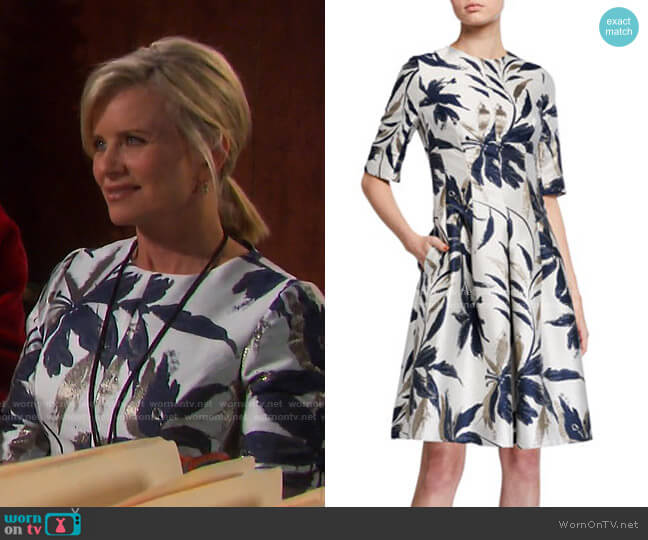 Leaf-Print Jacquard Dress by Teri Jon by Rickie Freeman worn by Kayla Brady (Mary Beth Evans) on Days of our Lives