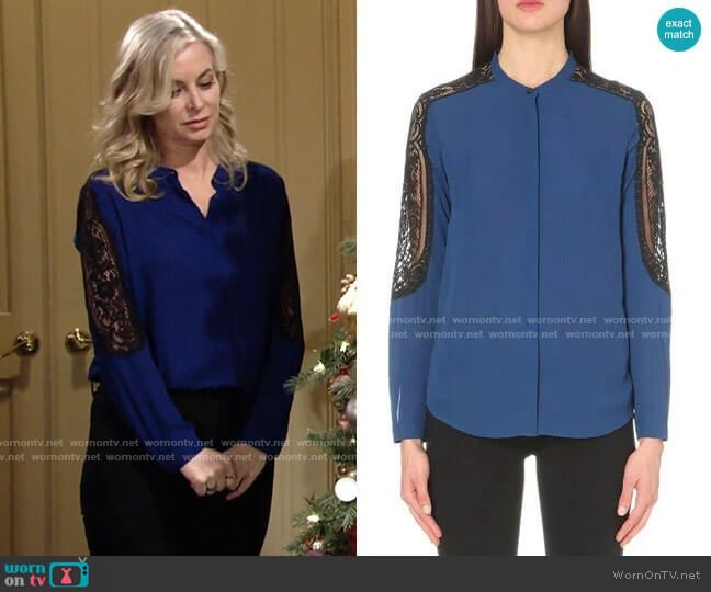 The Kooples Lace-detail woven shirt worn by Ashley Abbott (Eileen Davidson) on The Young & the Restless